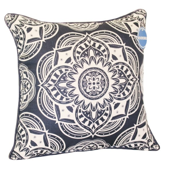 Home Fashions International Navy/ White Reversible Pillows (Set of 2). Opens flyout.