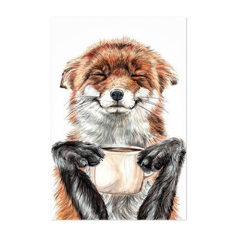 Noir Gallery Funny Fox Animal Coffee Gift Unframed Art Print/Poster
