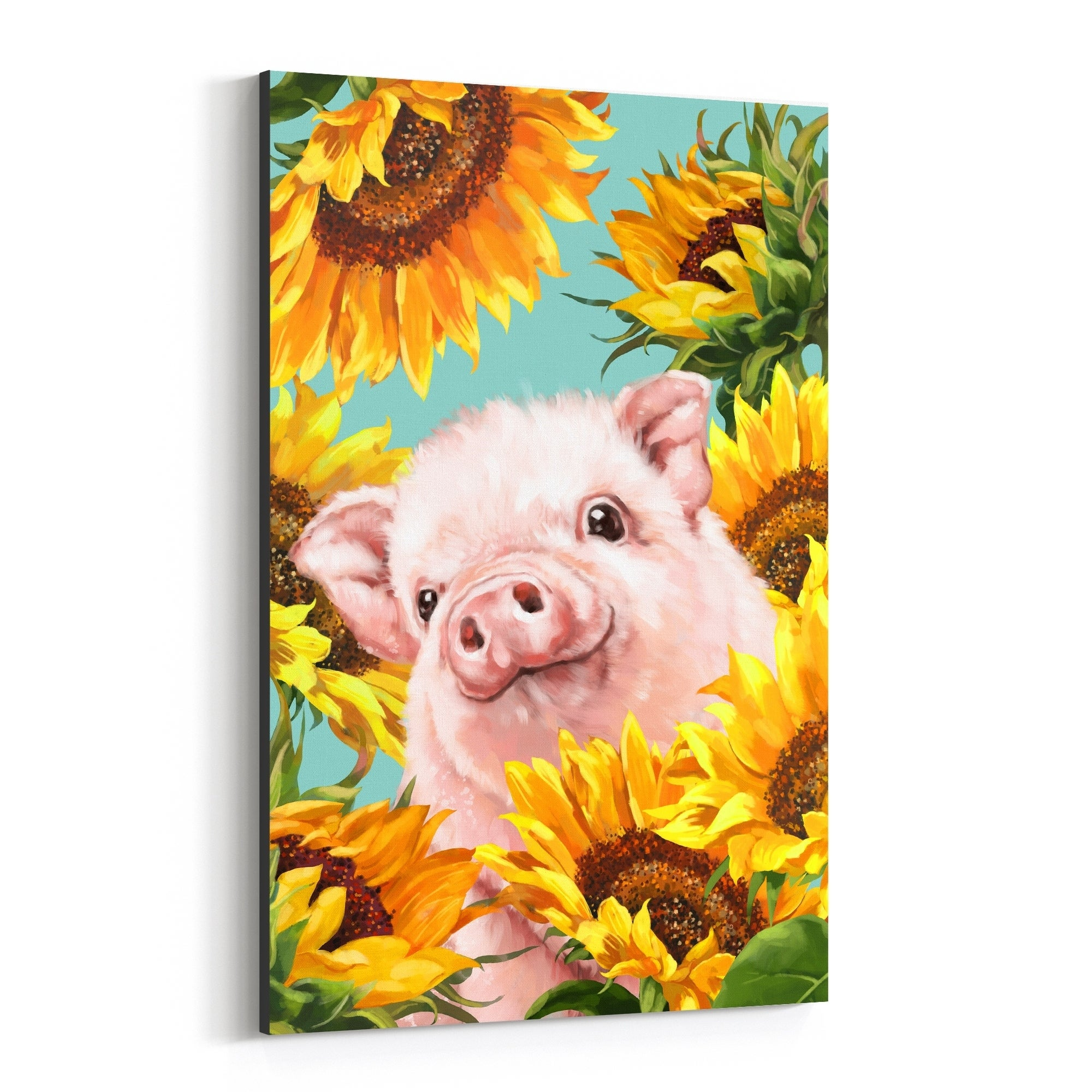 HAPPY PIGS CANVAS PRINT PICTURE WALL ART DESIGN SET OF 4 FREE DELIVERY