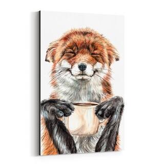 Noir Gallery Funny Fox Animal Coffee Gift Canvas Wall Art Print