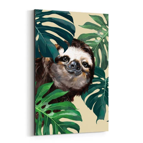 Noir Gallery Sloth Children's Peekaboo Animal Canvas Wall Art Print