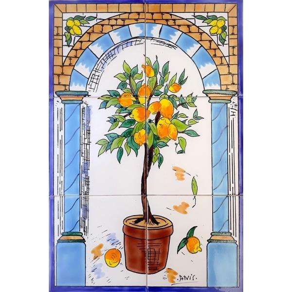 Lemon Tree 6 Tiles Ceramic Wall Mural Art. Opens flyout.