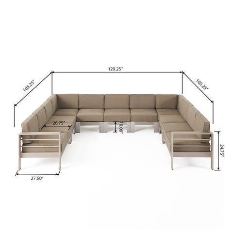 Cape Coral Outdoor 11 Seater Aluminum U-Shaped Sofa Sectional by Christopher Knight Home