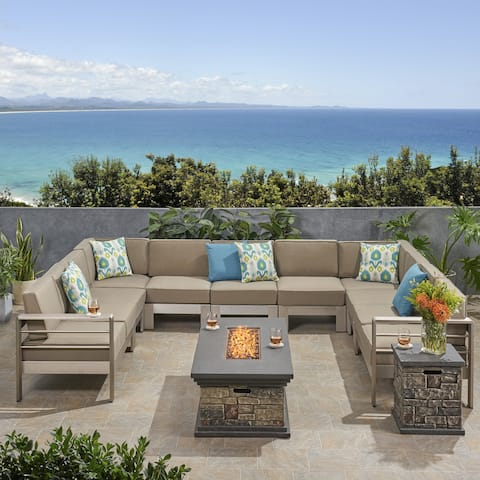 Cape Coral Outdoor 11 Seater Aluminum U-Shaped Sofa Sectional and Fire Pit Set by Christopher Knight Home
