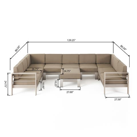 Cape Coral Outdoor Modern 9 Seater Aluminum U-Shaped Sofa Sectional Set with Ottoman by Christopher Knight Home