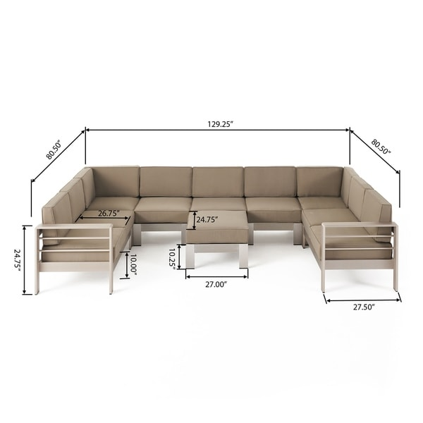 Cape Coral Outdoor Modern 9 Seater Aluminum U-Shaped Sofa Sectional Set with Ottoman by Christopher Knight Home. Opens flyout.