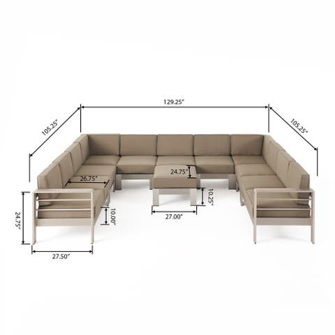 Cape Coral Outdoor 11 Seater Aluminum U-Shaped Sofa Sectional and Ottoman Set by Christopher Knight Home