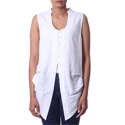 Handmade Gentle Breeze Sleeveless Cotton Blouse (India)