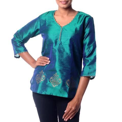 Handmade Emerald Empress Beaded Silk Tunic (Indonesia)