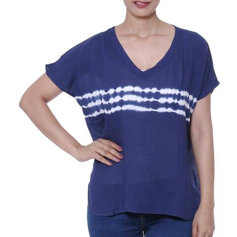 Handmade Eternal Indigo Tie-Dyed Viscose Blouse in Indigo (India)