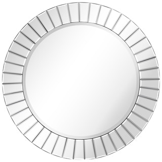 "Moderno Beveled Round Wall Mirror,Solid Wood Frame,0.75""-Beveled Center,32""x32"",Bathroom Mirror, Vanity, Bedroom,Ready to Hang"