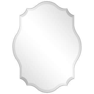 Frameless Beveled Oblong Scalloped Wall Mirror - Clear