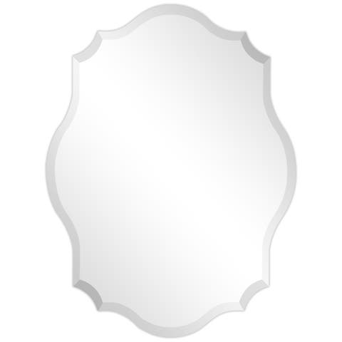 Frameless Beveled Oblong Scalloped Wall Mirror - Clear