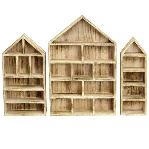Cute wooden house shaped shelf box shadow box nursery Scandi natural display