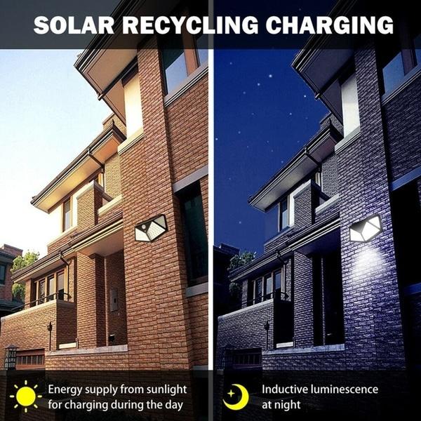 4//8Pack 100 LED Solar Light Outdoor Wireless Motion Sensor Wall Yard Garden Lamp