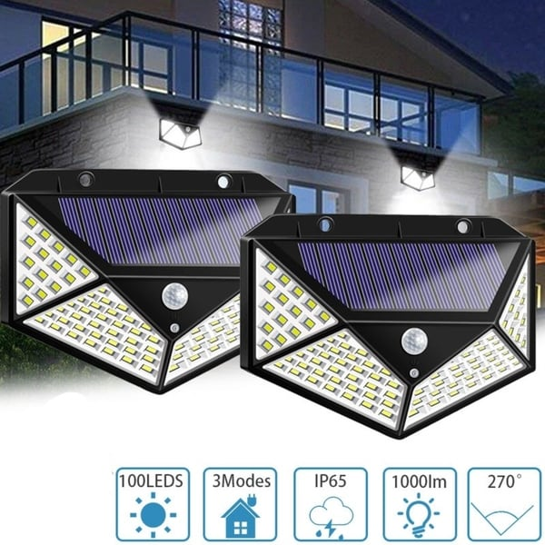 2Pcs 100 LED Motion Sensor Solar Light Waterproof Wall Lamp Outdoor Home Security Night Lighting 3 Modes for Garden. Opens flyout.