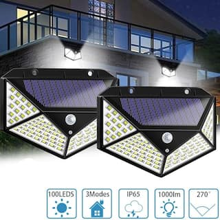 2Pcs 100 LED Motion Sensor Solar Light Waterproof Wall Lamp Outdoor Home Security Night Lighting 3 Modes for Garden