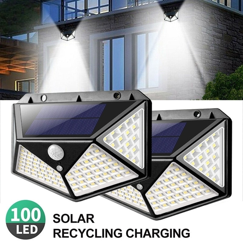 1pc 100 Led Security Light Motion Sensor Wall Lamp Solar Ed Lights Waterproof Outdoor Night Lighting 270 Degrees
