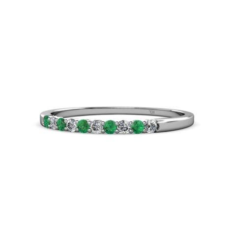 TriJewels Emerald and Lab Cr Diamond Wedding Band 0.26 ctw 14KW Gold