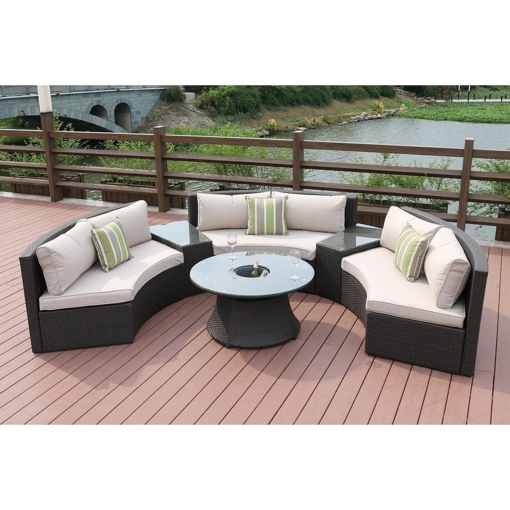 Shop New Style Half Moon 6 Piece Outdoor Sofa Set With Table By