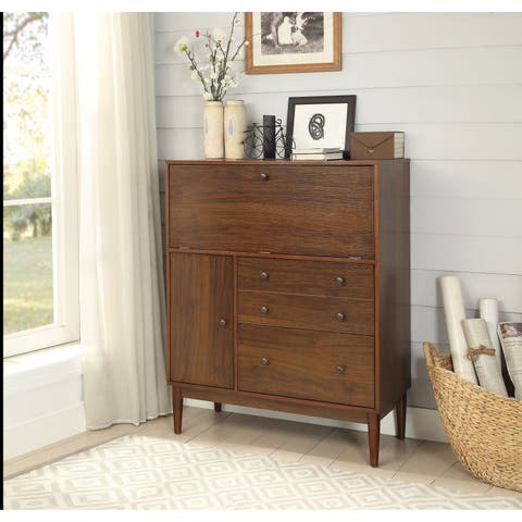 Two Drawers Wooden Office Armoire with Drop Down Door Storage and Cabinet, Brown
