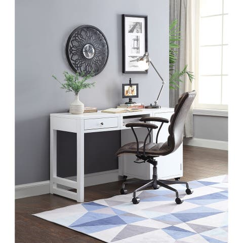 Convertible Wooden Desk with Spacious Side Door Storage and Castors, White