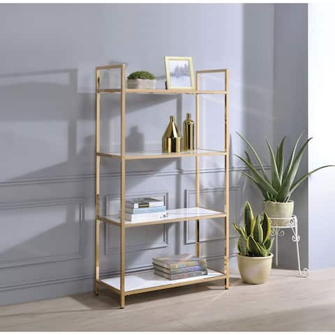 Tubular Metal Framed Bookshelf with Wood Inserted Open Shelves, White and Gold