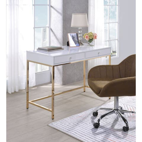 Two Drawers Wooden Desk with Tubular Metal Base, White and Gold
