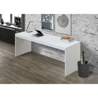 Wooden Rectangular Desk with Sled Base and Caster Wheels, White