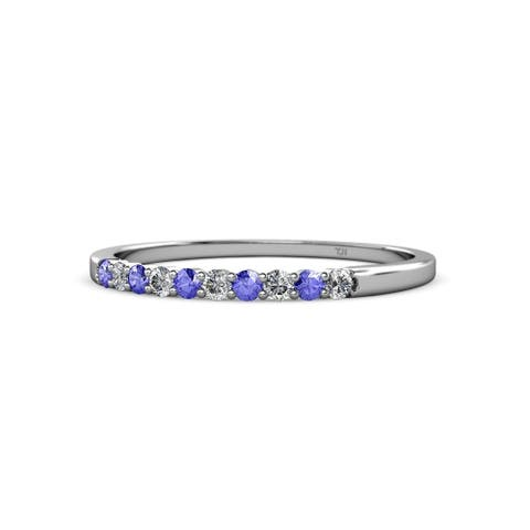 TriJewels Tanzanite and Lab Cr Diamond Wedding Band 0.29 ctw 14KW Gold