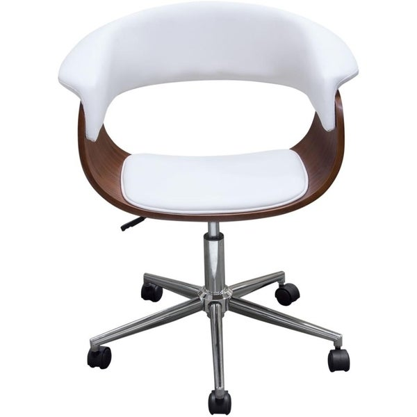 Leather Upholstered Wooden office Chair with Metal Base, Multicolor