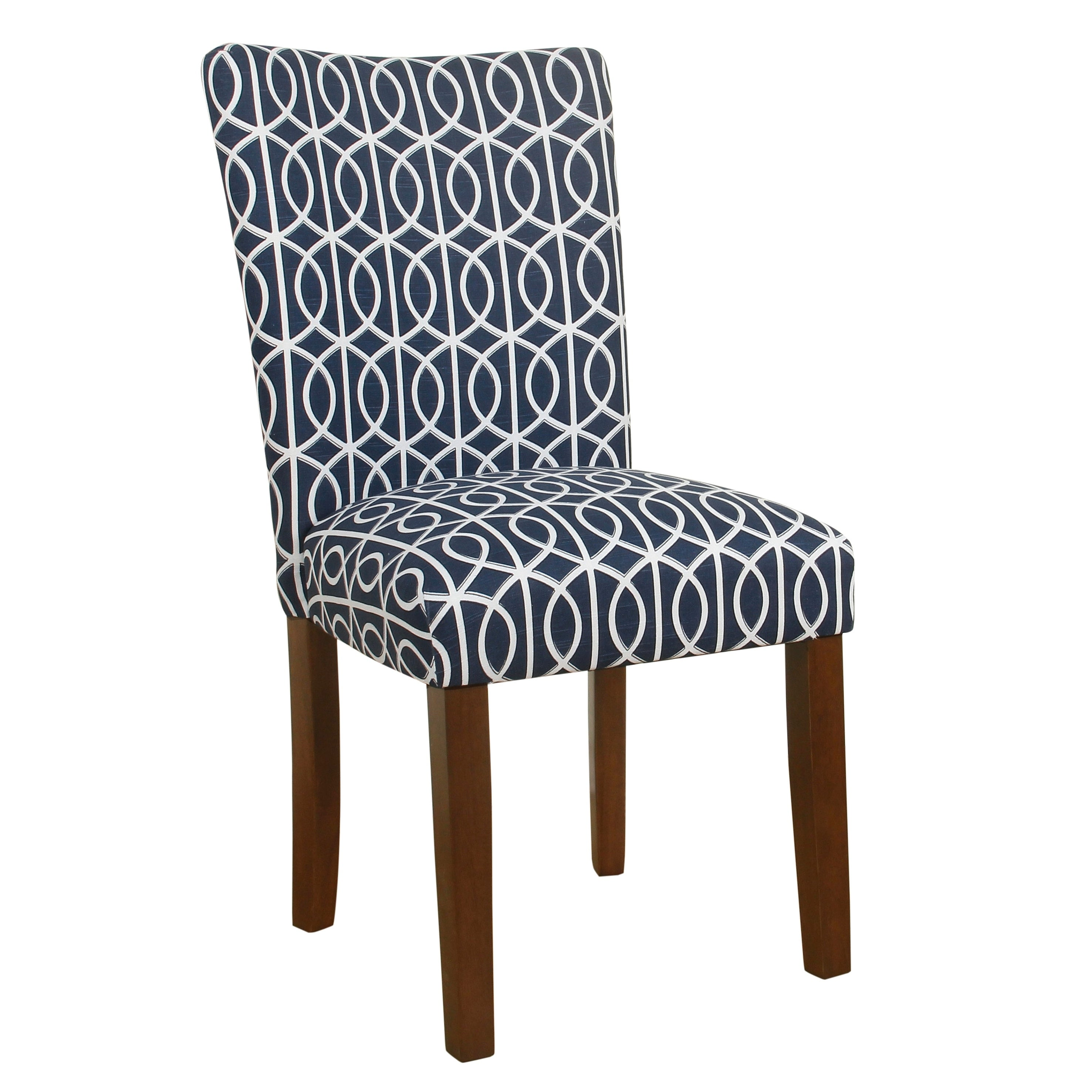 Trellis Patterned Fabric Upholstered Parsons Chair With Wooden Legs Blue And White Set Of Two