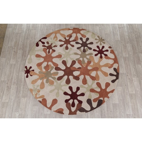"Modern Oushak Oriental Hand Tufted Wool Indian Rug - 7'10"" x 7'10"" Round"