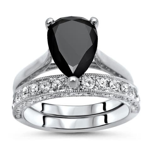 Noor 2.80ct Black Pear and Round Diamond Engagement Ring Bridal Set 18k White Gold