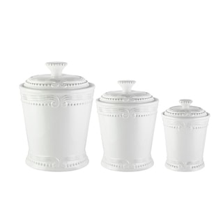 "Link to victoria white 3 pcs canister set   10.125""h86oz, Similar Items in Kitchen Storage"