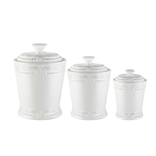 "victoria white 3 pcs canister set 10.125""h86oz,. Opens flyout."