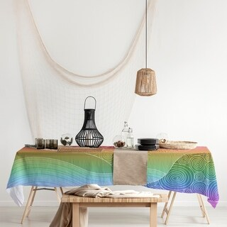 Link to Ombre Hand Drawn Waves Rectangle Tablecloth - 58 x 102 Similar Items in Table Linens & Decor