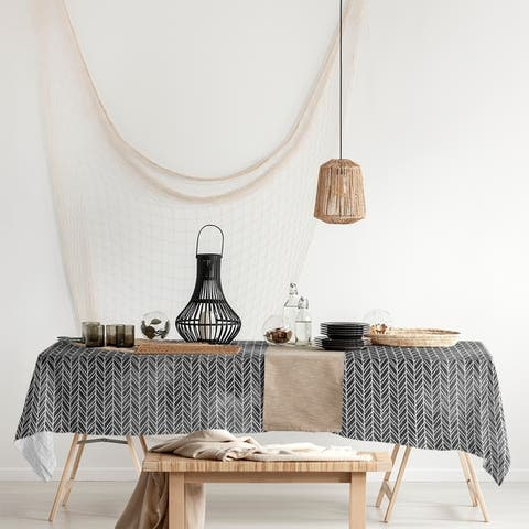 Herringbone Pattern Rectangle Tablecloth - 58 x 102