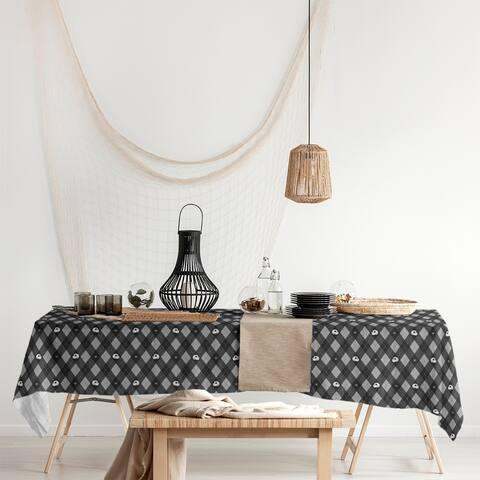 Argyle Skulls Pattern Rectangle Tablecloth - 58 x 102