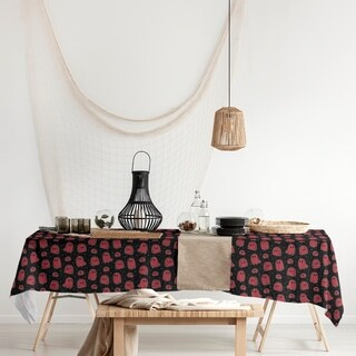 Black Background Ghosts Pattern Rectangle Tablecloth - 58 x 102