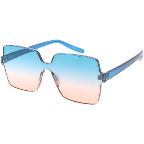 Frameless Squared Frame 80s Fashion Aviator Sunglasses