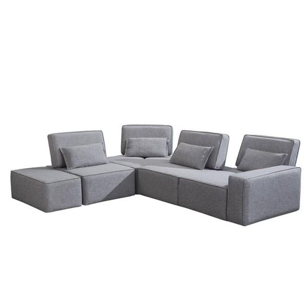 Divani Casa Chapel Modern Light Grey Fabric Sectional Sofa w/ Ottoman