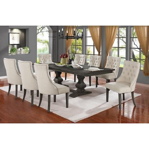 Best Quality Furniture 9-piece Trestle Base Dining Set