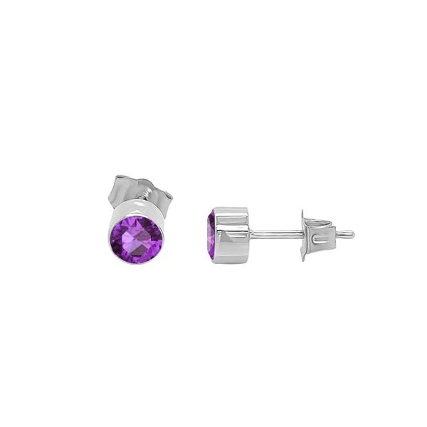 Noray Designs 14K Gold Amethyst Stud Earrings (4 MM; Round Cut; Bezel Setting). Opens flyout.