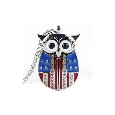 Patriotic Crystal American Flag Owl Pendant Necklace Watch