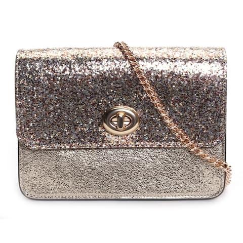 Coach Womens Bowery Glitter Crinkle Crossbody Bag