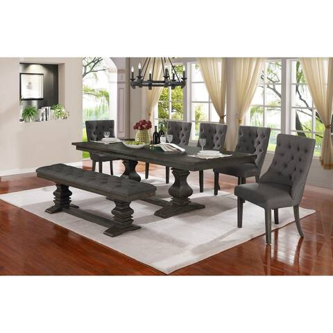 Best Quality Furniture 7-Piece Trestle Base Dining Set