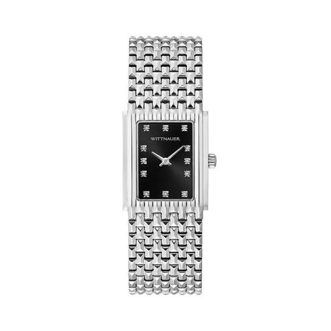 Wittnauer Ladies WN4091 Stainless Rectangular Black Dial Diamond Accent Bracelet Watch - N/A