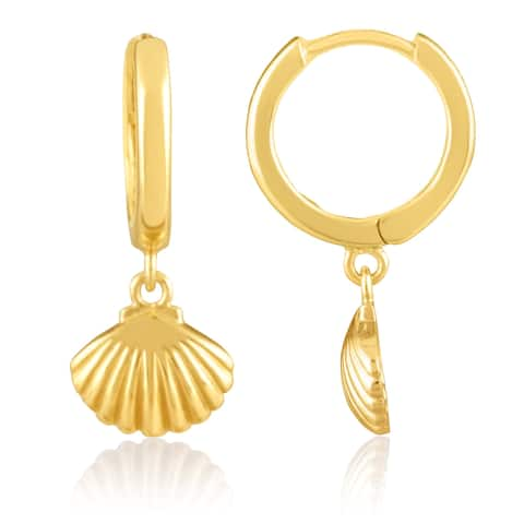 Sterling Silver 18KT Yellow Gold Plated Scallop Seashell Beach Huggie Earrings for Women