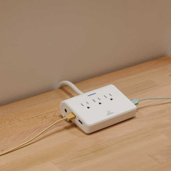6 ft. 3-Outlet White Surge Protector Desktop Power Strip w/4 USB Ports. Opens flyout.